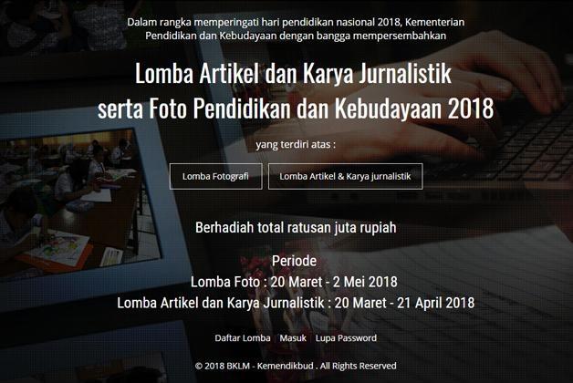 Lomba Foto, Artikel, dan Karya Jurnalistik Dikbud 2018